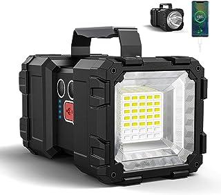 Bright Rechargeable Flashlight,JODK Portable Handheld Spotlight Searchlight with 3+4 LED Lights Modes, High Lumen Waterpro...