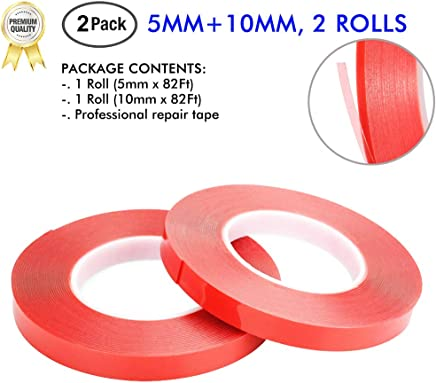 LLP 2 Pack Double Sided Tape 5mm & 10mm Wide x 164ft Heat Resistant Adhesive Tape Acrylic Tape for Repair of iPhone Android iPad PC MacBook Tablet Kindle Fire Samsung & Handwork of Artist Use Tape
