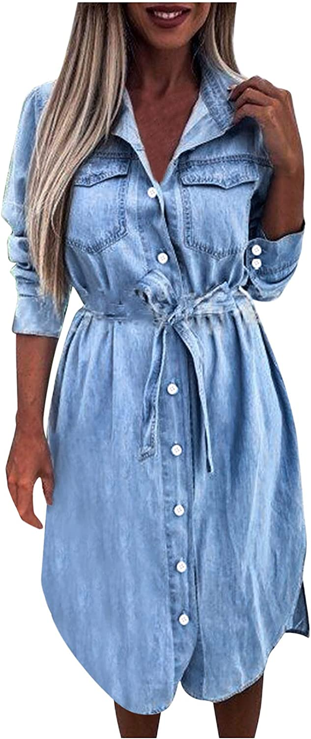Denim Cardigan Dress for Womens Lapel Long Sleeves Button Down Shirts Dress with Pockets Loose Fall Daily Dress