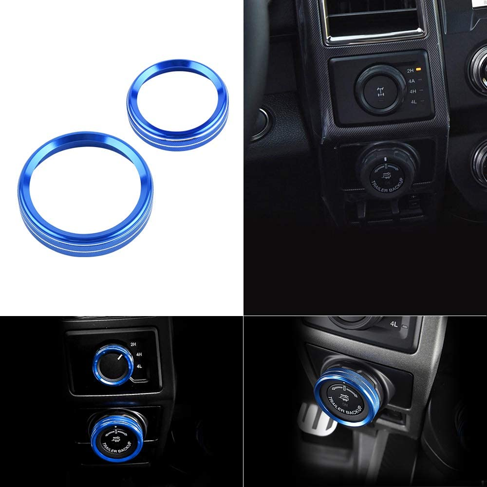 LECART 8Pcs Blue Aluminum Car Inner Air Conditioner Audio Tune Trailer 4WD Switch Knob Cover Trim and Start Stop Engine Push Button Cover Ring Stickers Compatible for Ford F150 2016 2017 2018 2019