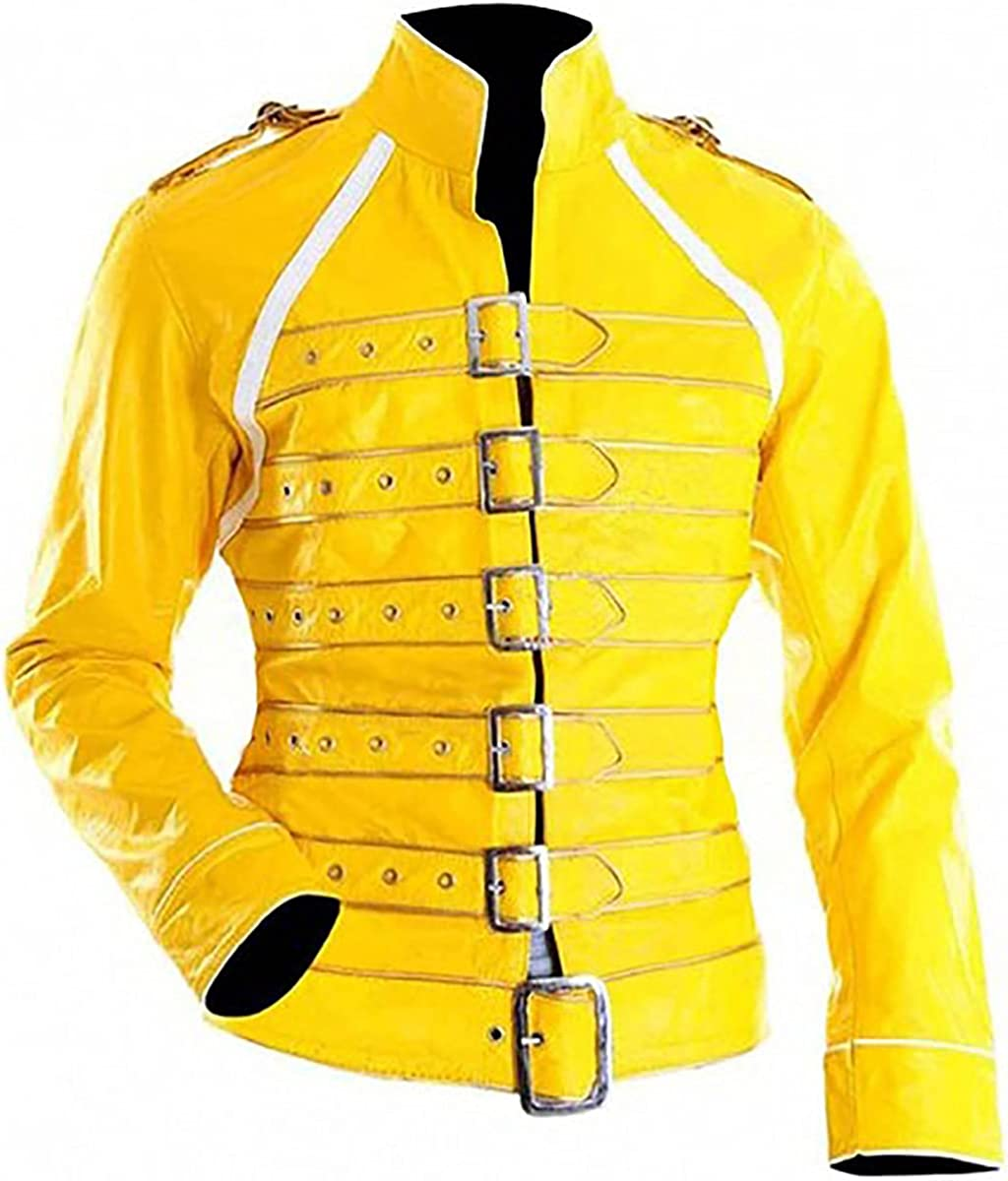 DreamTraderzz Men Belted Yellow Faux Leather Jacket