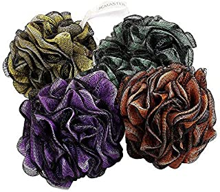 Loofah Shower Scrunchie Large for Men Women, 75g Each JCMASTER Mesh Pouf Poofs Puff Bath Lufa Loufa Luffa Scrubber Sponges for Exfoliating Your Skin, 4 Colors Pack