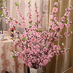2pc Artificial Cherry Spring Plum Peach Blossom Branch Silk Flower Plastic Bouquet