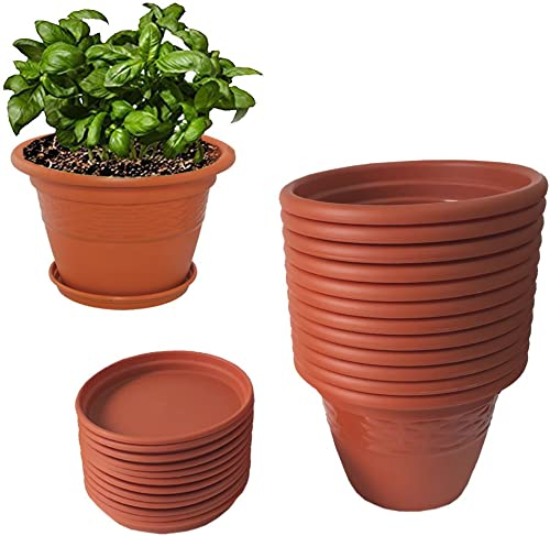 Meded Siti Plast 10 Inch Heavy Duty Plastic Planter Pots With Bottom Tray (Pack Of 12) Color - Terracotta product image
