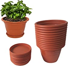 Meded Siti Plast 10 inch Heavy Duty Plastic Planter Pots with Bottom Tray (Pack of 12) Colour - Terracotta