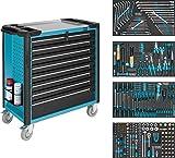 Hazet Werkstattwagen (bestückt 7 flache und 1 hohe Schublade, 40 kg Traglast pro Schublade, 1000 kg Gesamttragkraft, 317 Einzelteile) 179XL-8/317