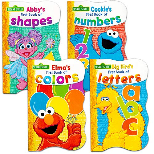 Sesame Street First Books Series; BIG Bird's Letters, Abby's Shapes, Elmo's Colors, Cookie's Numbers [Board Book Hardcovers, 4 Books]