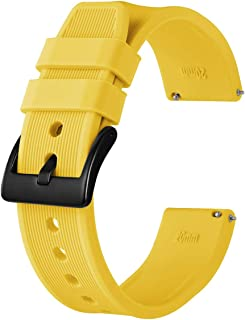 Anbeer 18mm 20mm 22mm 24mm Watch Band with Black Buckle, Quick Release Silicone Watch Strap