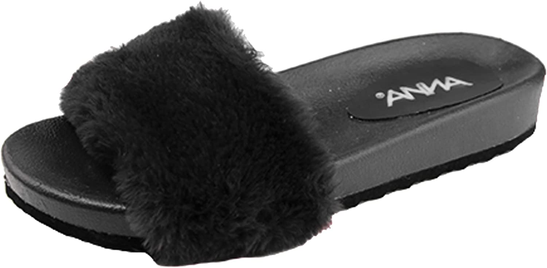 Anna shoes Women's Slip On Faux Fur Trim Flat Slipper Sandals