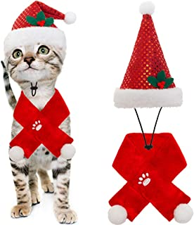 BINGPET Cat Christmas Costume Cat Santa Hat and Scarf Pet Xmas Holiday Accesories for Kitten Puppy Small Cats Dogs