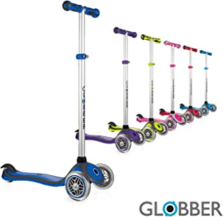Globber - 3 Wheel Scooter for Kids, Ages 3+, 4 Adjustable Height Kick Scooter w/Lights no Assembly Learn to Steer Patented Steering Lock for Girls or Boys Reinforced Body Supports Up to 110lbs