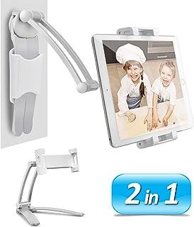 AYADA Kitchen Cabinet Tablet Holder, 2 in 1 Wall Mount Desktop Stand for ipad 12.9 Aluminum Alloy Metal Adjustable Multian...