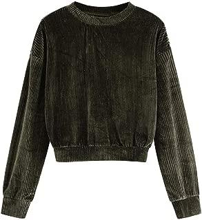 Womens Drop Shoulder Tops Solid Vintage Ribbed Corduroy Sweatshirt Long Sleeve Blouse Tops