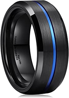 King Will LOOP Blue & Black 8mm Men Tungsten Carbide Wedding Band Ring Brushed Comfort Fit