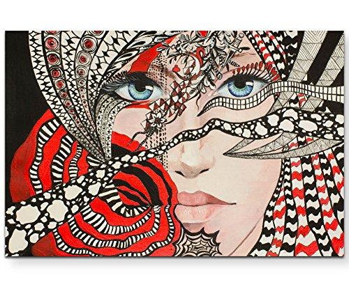 Paul Sinus Art Leinwandbilder | Bilder Leinwand 120x80cm abstraktes Portrait mit Ornamenten