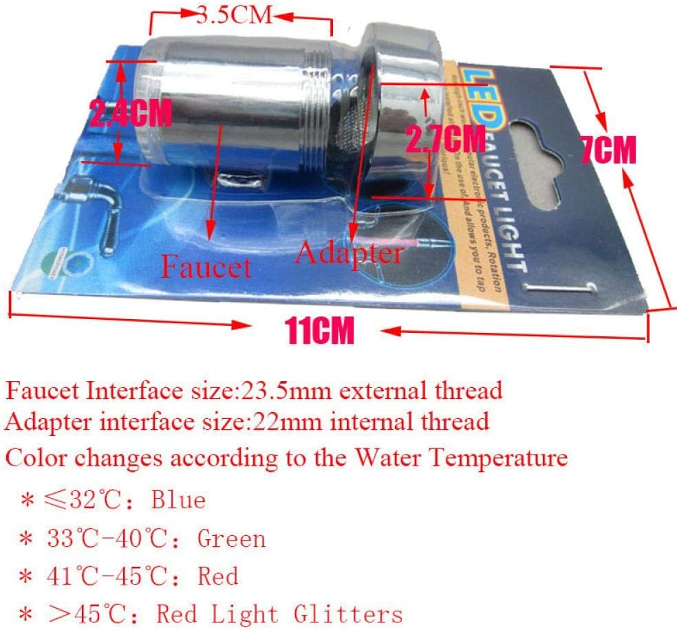 STJDM Kitchen Faucet,LED Kitchen Bathroom Water Saving Faucet Aerator Colorful Light Blinking Changing Glow Aerators Multi