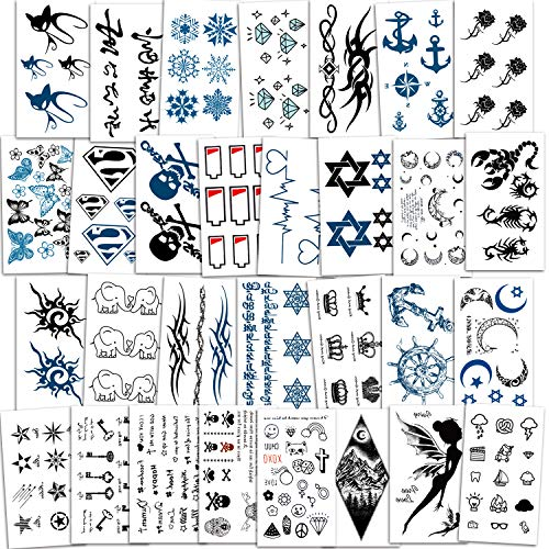 Konsait Temporary Tattoos for Men Boys Women Girls Kids(30 Sheets), Black Tiny Waterproof Temporary Tattoo Fake Tattoos Body Art Sticker Hand Neck Wrist Cover Up Set