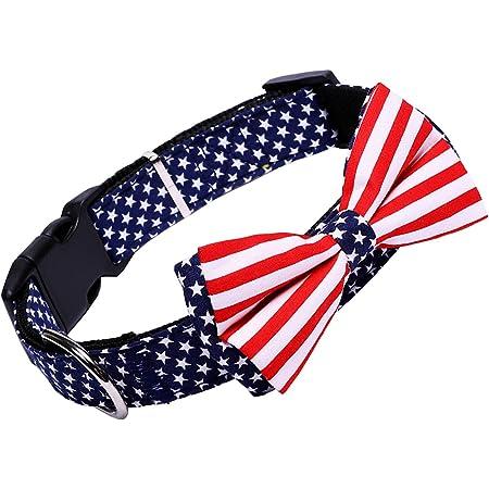 H-Shero American Flag Bowtie Dog Collar in 3 Different Sizes (Medium:Width 2.0cm, Adjustable 34-50cm)