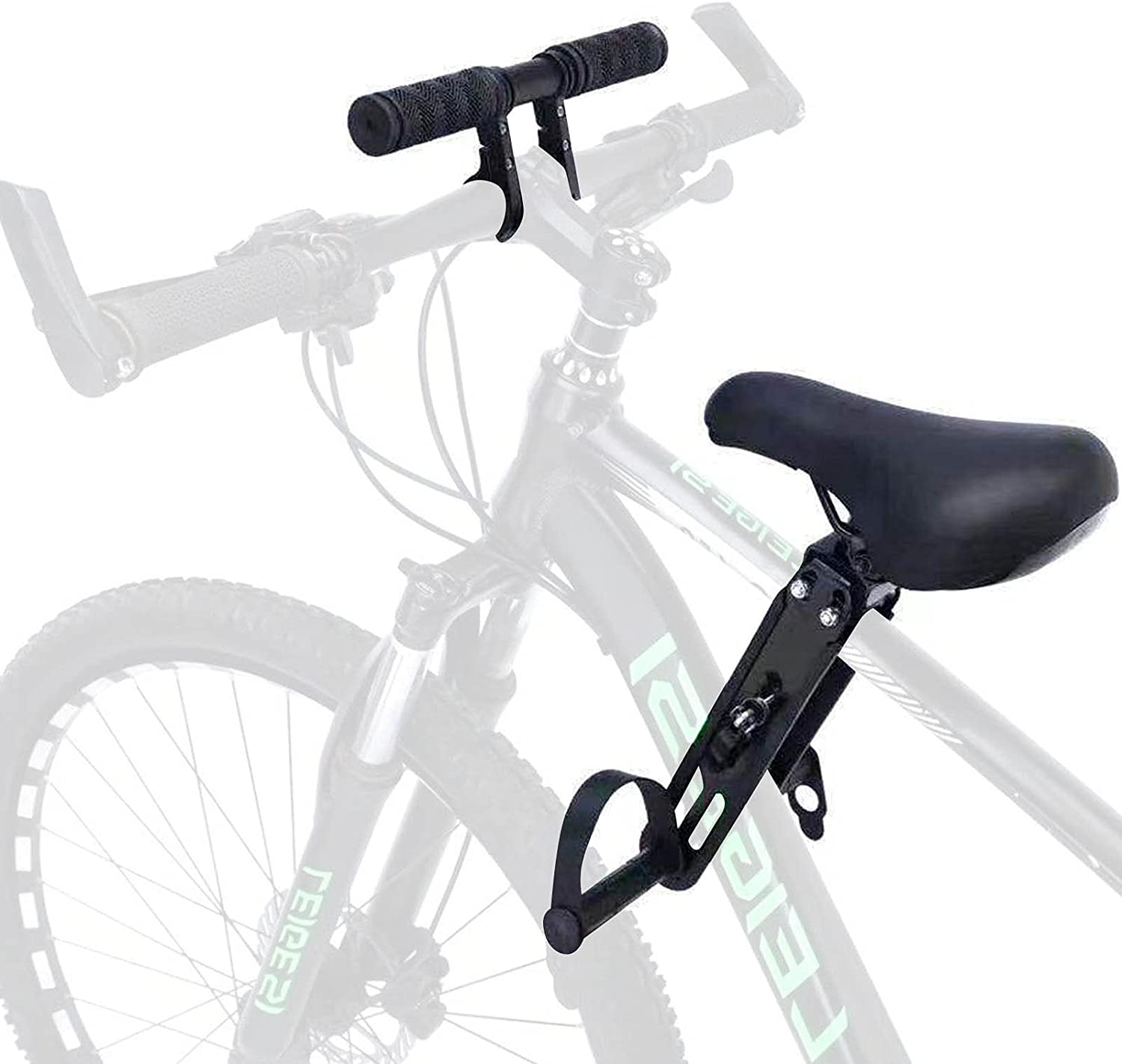 Enjovdery Kids Bike Seat for Mountain Bikes-Kids Bike Seat and Handlebar Accessory Combo Pack, Front Mounted Bicycle Seats for Children 2-5 Years (up to 48 Pound) for All Mountain Bikes