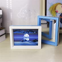 DeerBird Illusion Landscape Moving Sand Painting Frame 3D Vision Dynamic Sand Picture with Double Color Frame Attach Mirror Desktop Art