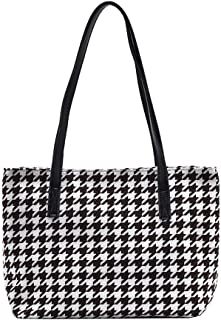 Fashion Retro Hahnentritt Schultertasche Damen Große Kapazität Tote Bag Handtasche