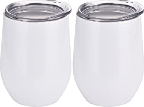 Skylety 12 oz Double-insulated Stemless Glass, Stainless Steel Tumbler Cup with Lids for Wine, Coffee, Drinks, Champagne, Cocktails, 2 Pieces (White)