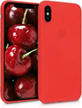 kwmobile TPU Silicone Case Compatible with Apple iPhone X - Soft Flexible Protective Phone Cover - Neon Red