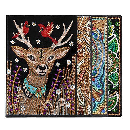 YINGBO Caderno de pintura de diamante DIY A5 Diário Livro Escritório Caderno Mandala Ponto Cruz, 8x6, 50 páginas