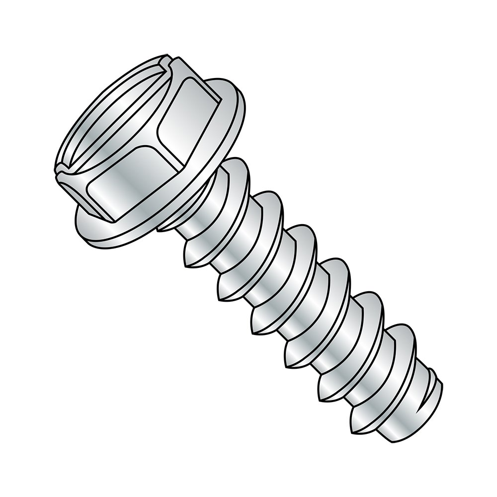 Steel Sheet Metal Screw Pack of 10000 #4-24 Thread Size Type B Small Parts 0406BSW Slotted Drive Hex Washer Head 3//8 Length Zinc Plated Pack of 10000 3//8 Length