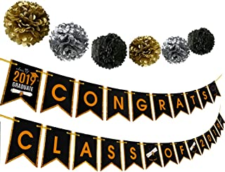 Graduation Party Supplies 2019 Congrats Banner Bunting Garland Black Gold Grad Decorations Gifts Class Reunion Favors Photo Prop Background with Paper Pom Pom
