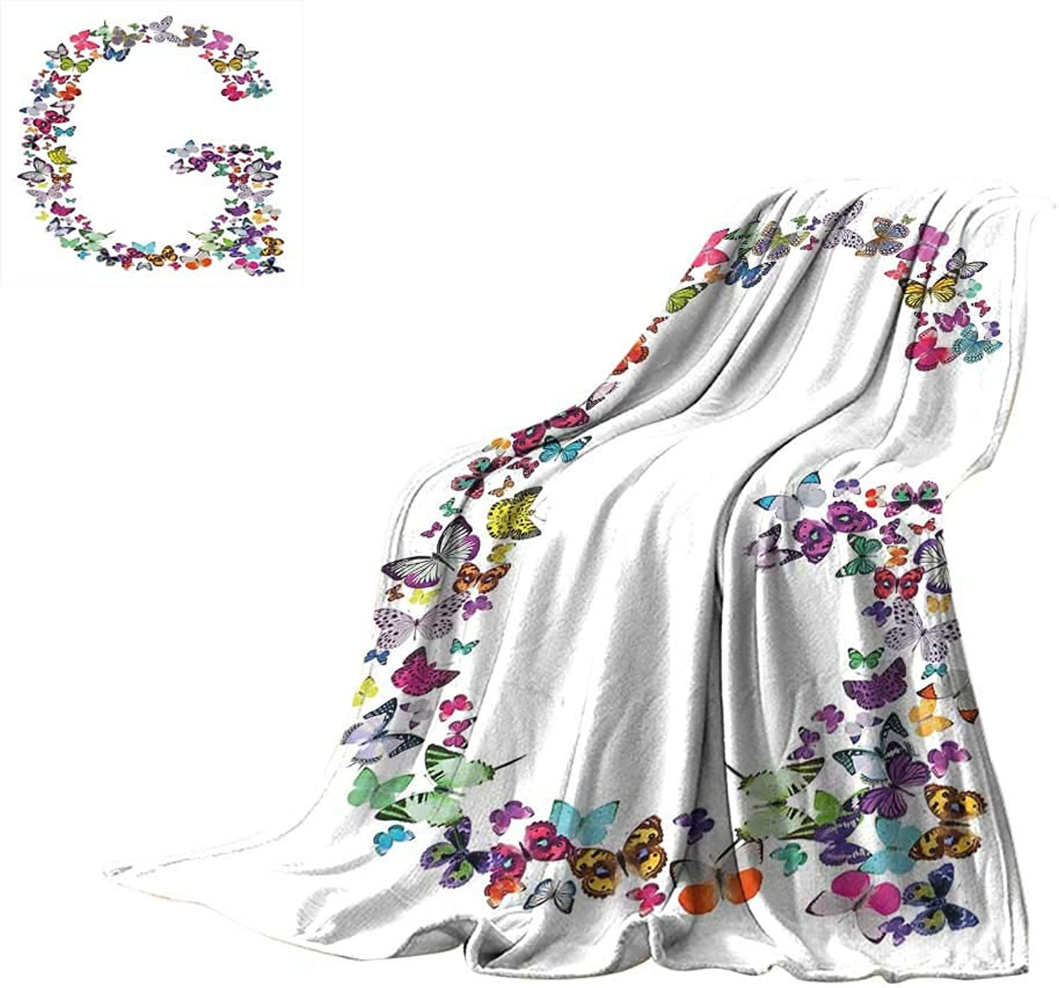 Letter G,Fleece Blanket Exotic colorful Butterflies in The Shape of Letter G Cute Feminine Girls Design Blanket for Bed Couch W60 x L50 inch