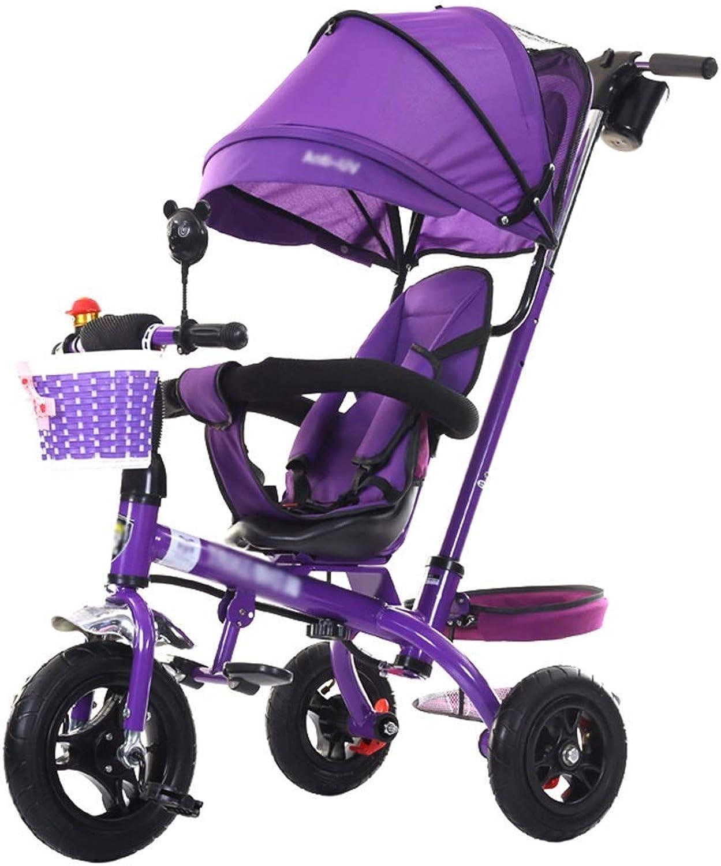 hermoso Cochecito de bebé cochecito de bebé bebé bebé triciclo para Niños de 1-6 años Cochero para Niños Cocherito para Niños   Reposabrazos ajustable   Embrague   Arnés de seguridad   Frenos   Portavasos (púrpura)  diseño único