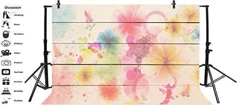 Leyiyi 7x5ft Photography Background Watercolor Birthday Party Backdrop Vintage Blurry Wooden Board Floral Butterfly Baby Shower Dessert Table Banquet Photo Portrait Vinyl Studio Video Prop