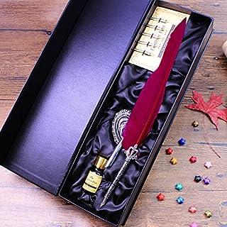 ECVISION Antike Feder Federkiel Schreiben Stift Metall-Nibbed Pen Kalligraphie-Schreibfeder Stifte Set (Weinrot) B015KDRZQ8  Das hochwertigste Material