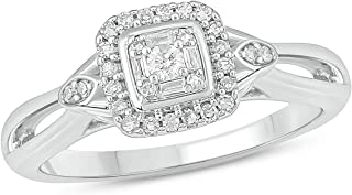 Cali Trove Round White Diamond 925 Sterling Silver Promise Ring for Women, US6