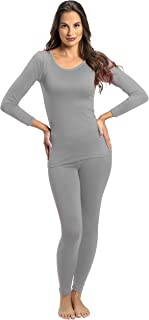 ملابس داخلية من قطعتين حراريتين وفائقتي النعومة للنساء من روكي - بلوزة وسروال داخلي مبطنان بالصوف رمادي Large