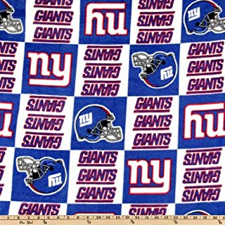 Fabric Traditions NFL Fleece New York Giants Squares, Blue/White