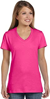 Hanes Ladies 4.5 oz. 100% Ringspun Cotton nano-T V-Neck T-Shirt