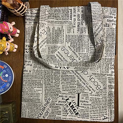 SHOUTIBAOBAO Handtasche Leinwand,Casual Baumwolle Shopping Tote Schulter Tasche Eco Wiederverwendbare Tasche Multifunktionsdrucker Gedruckte Englische Zeitung
