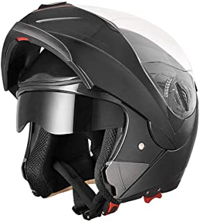AHR Full Face Flip up Modular Motorcycle Helmet DOT Approved Dual Visor Motocross Black L
