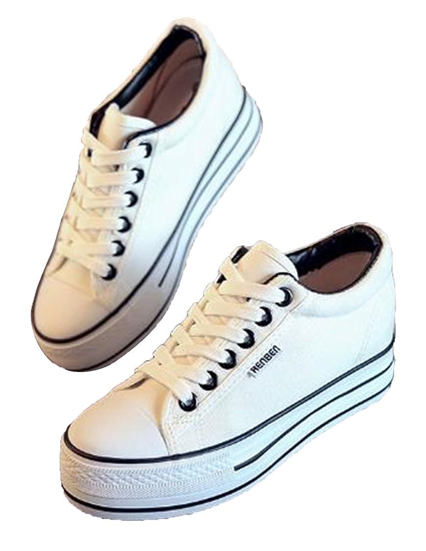 爆発する歯痛もろい[Aijuan] レディース シューズ スニーカー 高くなる カジュアル 通勤 布靴 快適 歩きやすい スポーツ 学生 美脚 レースアップ デッキシューズ 厚底靴 ファッション
