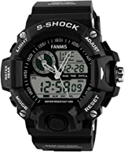Mens Analog Digital Dual Display Sports Watches Military Multifunctional 50M Waterproof LED Watch with Alarm Stopwatch Backlight 12H/24H Outdoor Running Swimming