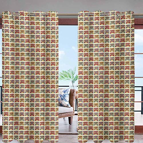 Dasnh Outdoor Waterproof Curtains with Grommet Top Old Audio Cassettes Vintage Elements W84 x L96 Public Divider for Pergola Patio Balcony