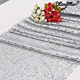 XINGMAO Sequin Silver Glitter Table Runner 12 X 72 Inch Glitter Silver Table Runner Silver Party Supplies Fabric Decorations for Wedding Birthday Baby Shower/for Christmas Party