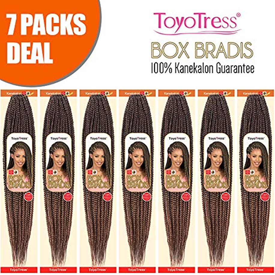 ToyoTress 7Packs/Lot 14Inch Box Braids Crochet Hair 100% Kanekalon Crochet Box Braids Hair Synthetic Hair Braiding Hair Extensions For Black Women(14 Inch,T1B/30)