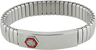 1928 Jewelry Silver-Tone Stainless Steel Large Medical Alert ID Stretch Bracelet