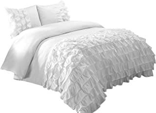 Chezmoi Collection Ella 3-Piece Ruffle Waterfall Comforter Set (Queen, White)