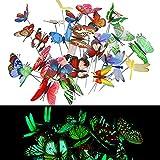 TANCUDER 25 PCS Papillons de Jardin Coloré et 5 PCS Libellules de Jardin sur Bâtons, Papillons de Jardin déco Lumineux Imperméable Papillons sur Bâtons pour Jardin, Extérieur, Balcon