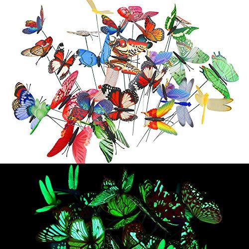 Tanicuder - 25 farfalle da giardino colorate e 5 pezzi, libellule da giardino su bastoni, farfalle da giardino decorative luminose, impermeabili, farfalle su bastoni per giardino, esterni, balcone