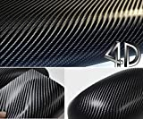 DIYAH 4D Black Carbon Fiber Vinyl Wrap Sticker with Air...